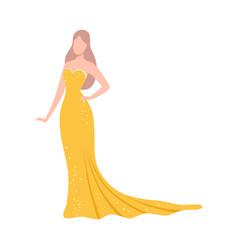 Beautiful woman in festive yellow dress elegant vector