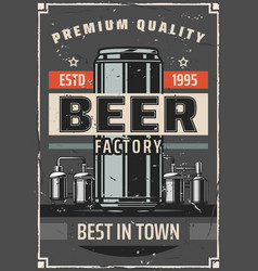 Beer factory or brewery bar retro poster vector