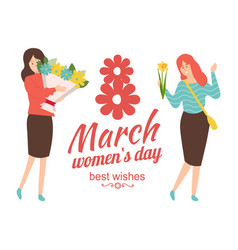 Best wishes on international 8 march womens day vector