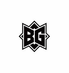 Bg monogram logo with square rotate style outline vector