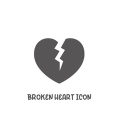 Broken heart icon simple flat style vector
