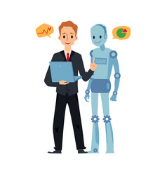 Businessman and android robot looking at laptop vector