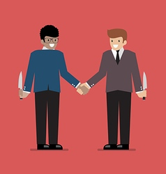 Businessmen hiding the knife for Betrayal or back vector image