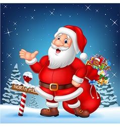 Cartoon funny Santa presenting with a north pole vector image
