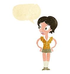cartoon happy woman in short skirt with speech vector image