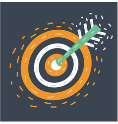 cartoon target aim and arrow in vector image