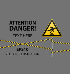 caution low-noticeable obstacle safety sign vector image