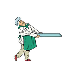 chef cook with tray of food vector image