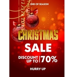 Christmas sale design poster template with shiny vector