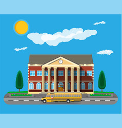 classical school building and school bus vector image