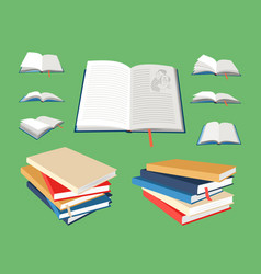 closed and open books vector image