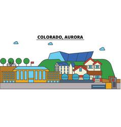 Colorado aurora city skyline architecture vector