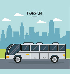 colorful poster of transport with bus on the vector image