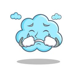 crying cute cloud character cartoon vector image