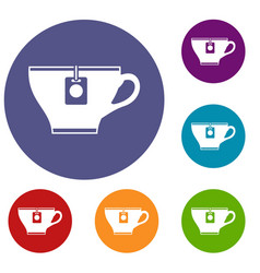 cup with teabag icons set vector image