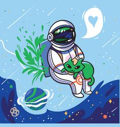 Cute cartoon astronaut stroking a green alien cat vector