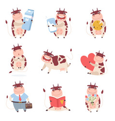 cute funny cow characters set cheerful farm vector image