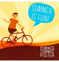 Cute summer poster - bike riding with speech vector image