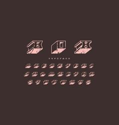 Decorative serif bulk font in futuristic style vector
