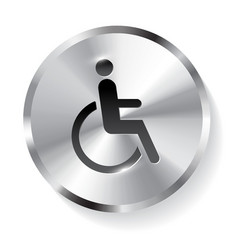 disabled metal icon button vector image