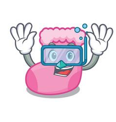 Diving sock character cartoon style vector