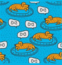 dog on rug sleeps pattern home pet dream vector image