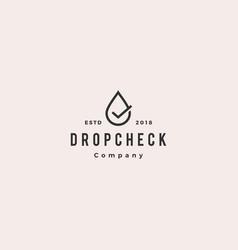 drop check logo hipster retro vintage icon vector image
