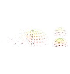 Dust pixel halftone abstract dotted semi-sphere vector