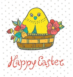 Easter card with chicken and flowers vector image