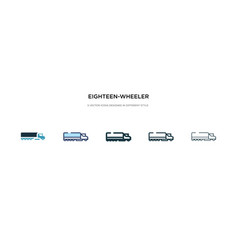 Eighteen-wheeler icon in different style two vector