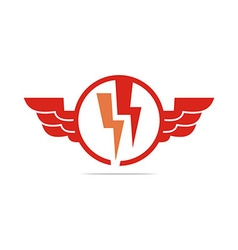 Electricity power wings icon design symbol vector