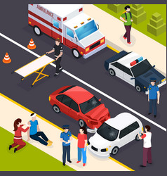 emergency team isometric composition vector image