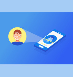Face id face identification of young man vector