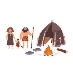 Family of ancient people cavemen primitive men vector