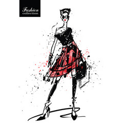 fashion girl in sketch-style retro poster vector image