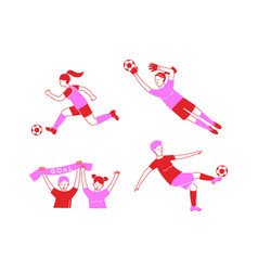 Female soccer football player game match seamless vector