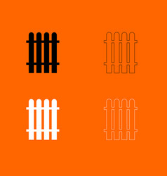 fence black and white set icon vector image