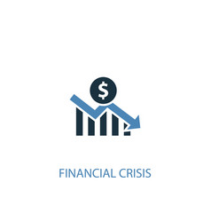 Financial crisis concept 2 colored icon simple vector