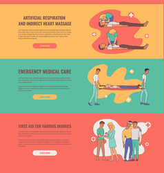 First aid emergency scenes poster set vector