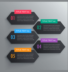 Five infographics steps banners in dark theme vector