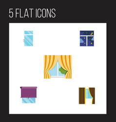 flat icon glass set of frame glazing clean and vector image