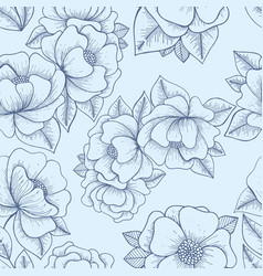Flowers hand drawing seamless pattern vector