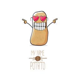 Funny cartoon cute brown potato vector