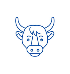 funny cow line icon concept funny cow flat vector image