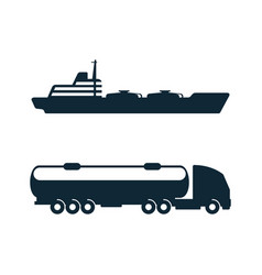 Gasoline tanker truck oil ship icon set vector
