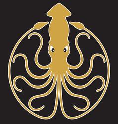 Giant squid badge logo or emblem design vector