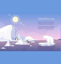 Global warming banner template north pole vector