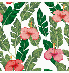 green banana leaves hibiscus seamless white vector image