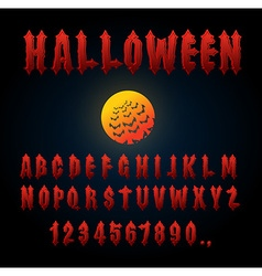 Halloween font Ancient alphabet Blood Gothic vector image