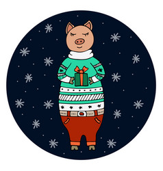 Hand-drawn pig in a christmas sweater vector